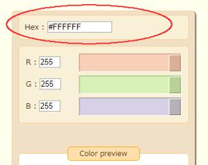 Enter the hexadecimal code